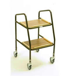 Adjustable Height Trolleys with Wooden Shelves image