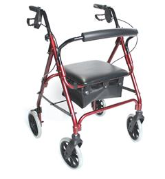 Lightweight Aluminium Safety Walker with Standard Height Rest Seat – Red image cover