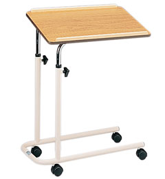 Overbed Table with Split Legs, Castors and Wooden Top image cover