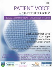 The Patient Voice in Cancer Research, 21st September 2018 image cover